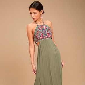 Lulus beach olive green embroidered maxi dress
